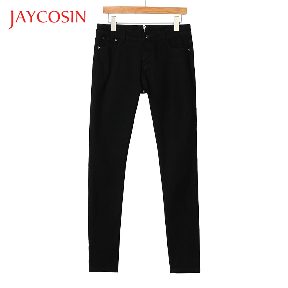 JAYCOSIN Back Zipper  Women Pencil Stretch Denim Skinny Jeans Pants High Waist Trousers Daily Occasion Solid Pattern
