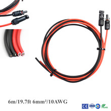цена на 1 Pair 6m/19.7ft 6mm2 / 10AWG Black + Red Solar Panel Extension Cable Wire with MC4 Female And Male Connector