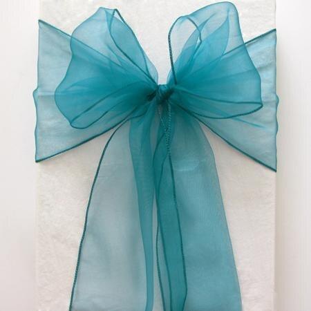 100 قطع البط البري الأزرق الزفاف كرسي الزنانير جديد اورجانزا كرسي الزنانير القوس غطاء للولائم ، حفل زفاف كرسي الديكور مجانية مجانا-في الأوشحة من المنزل والحديقة على  مجموعة 1