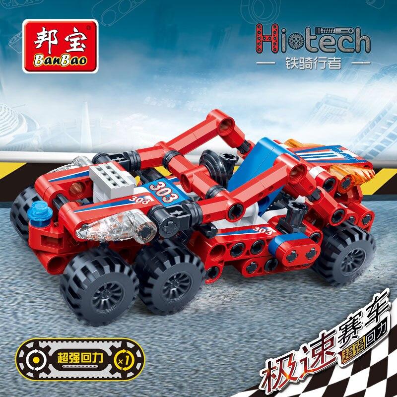 Image 5 - BanBao Speed Racing Car Pull Back Vehicle Technic Bricks Educational Building Blocks Kids Children Creative Model Toys Gift-in Blocks from Toys & Hobbies