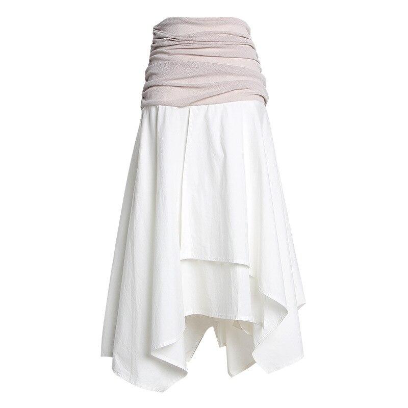 2019 Summer Women Long Skirt High Waist Vintage A Line Irregular Hem White Skirt Women Cotton Skirts Saia Faldas Jupe Femme