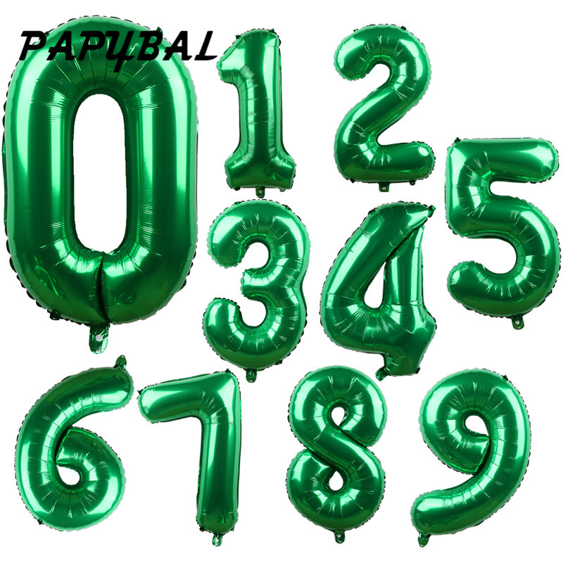 <font><b>10</b></font>/30/50pcs 32 inch Green Foil Number Balloons New Digital Helium Globos Baby Shower <font><b>Birthday</b></font> Party Wedding <font><b>Decoration</b></font> Supplies image
