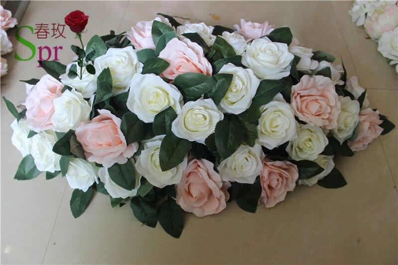SPR mariage route plomb table de mariage artificielle rose fleur mur centre fleur boule décoration