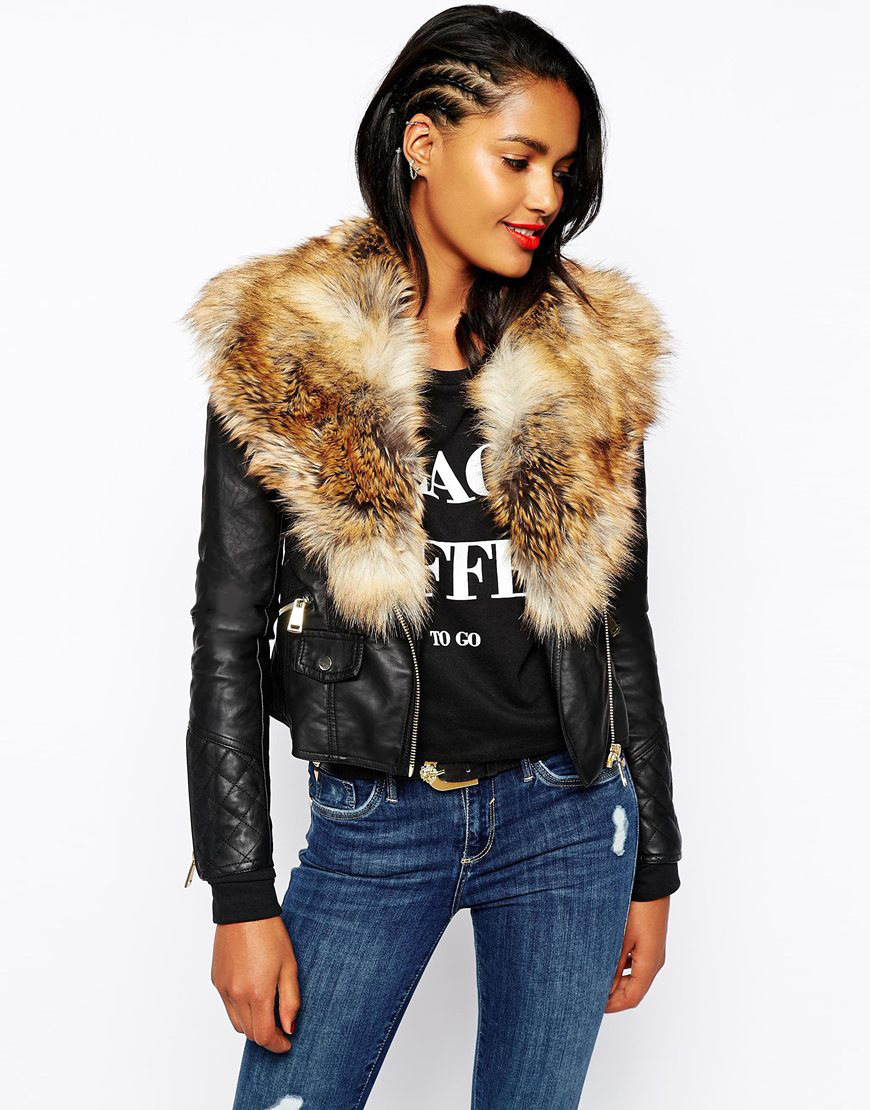 Fur Collar Leather Jacket Women 2015 Motorcycle Chaquetas Mujer