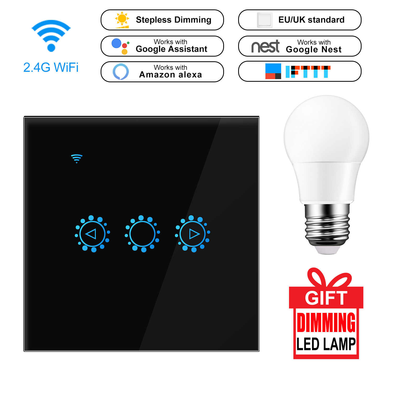 Led Dimmer 220v Smart Wifi Switch Touch Control Stepless Dimmer With Bulb Compatible With Amazon Alexa Google Assistant Ewelink