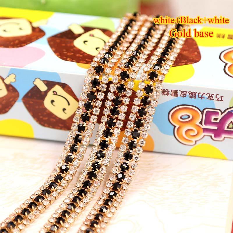 9 мм 1 ярд 3 ряда золото база Кристалл белый + черный цвет горный хрусталь цепь чашки пришить Diy/Сумка/ костюмы аксессуары ZL007