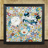 OriginalFake Takashi MURAKAMI Mr.DOB Cartoon Wall Painting Creative Solid Wood Framed Picture Wall Art Decorations X1143