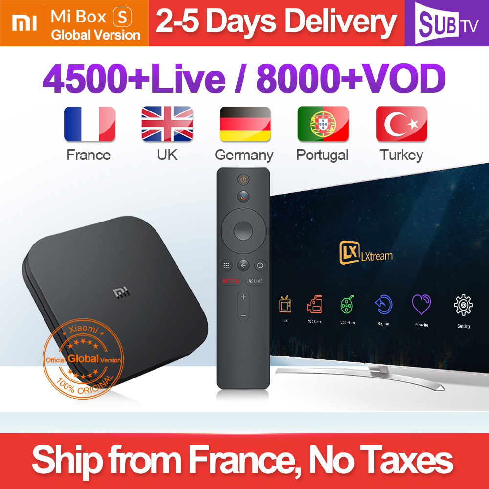 4 K IPTV France Box Mi Box S 4 K HDR Android 8.1 2G 8G WIFI Google Cast avec SUBTV IPTV Code 1 an Full HD arabe français IP TV