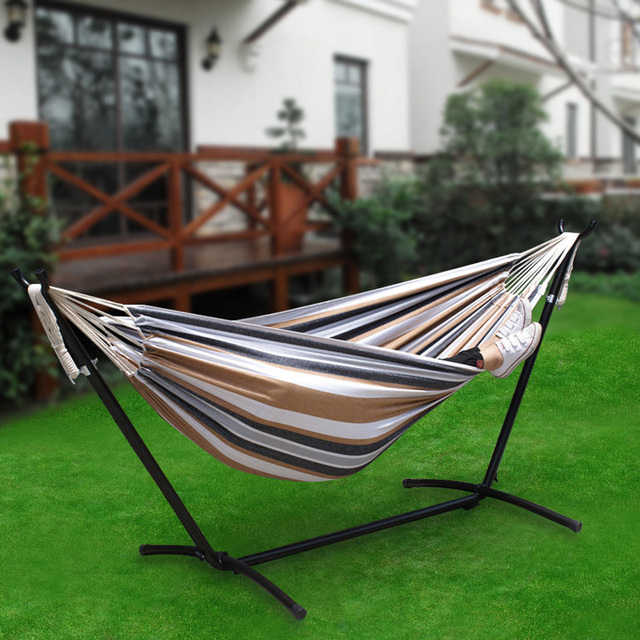 YONTREE 1 PC Stainless Steel Outdoor Recliner Stripe Garden Hammock Swing with Stent Stock in US & Germany