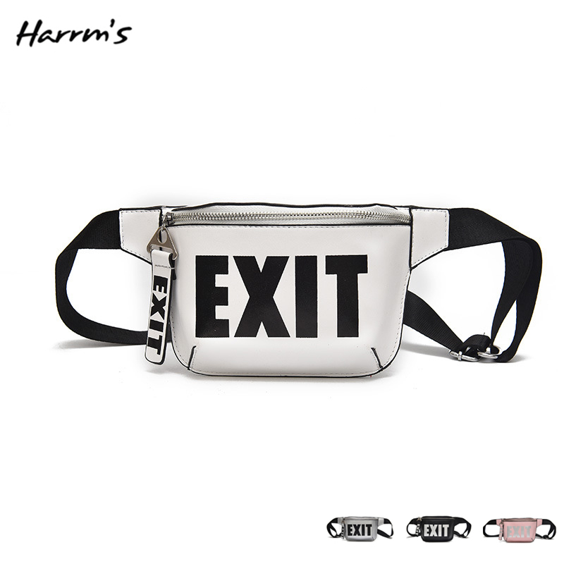 2018 Fashion PU Handbags Brand EXIT Waist Bag Women Waist Packs Belt Bag Leather Travel Fashion Money Leather Waterproof Pack