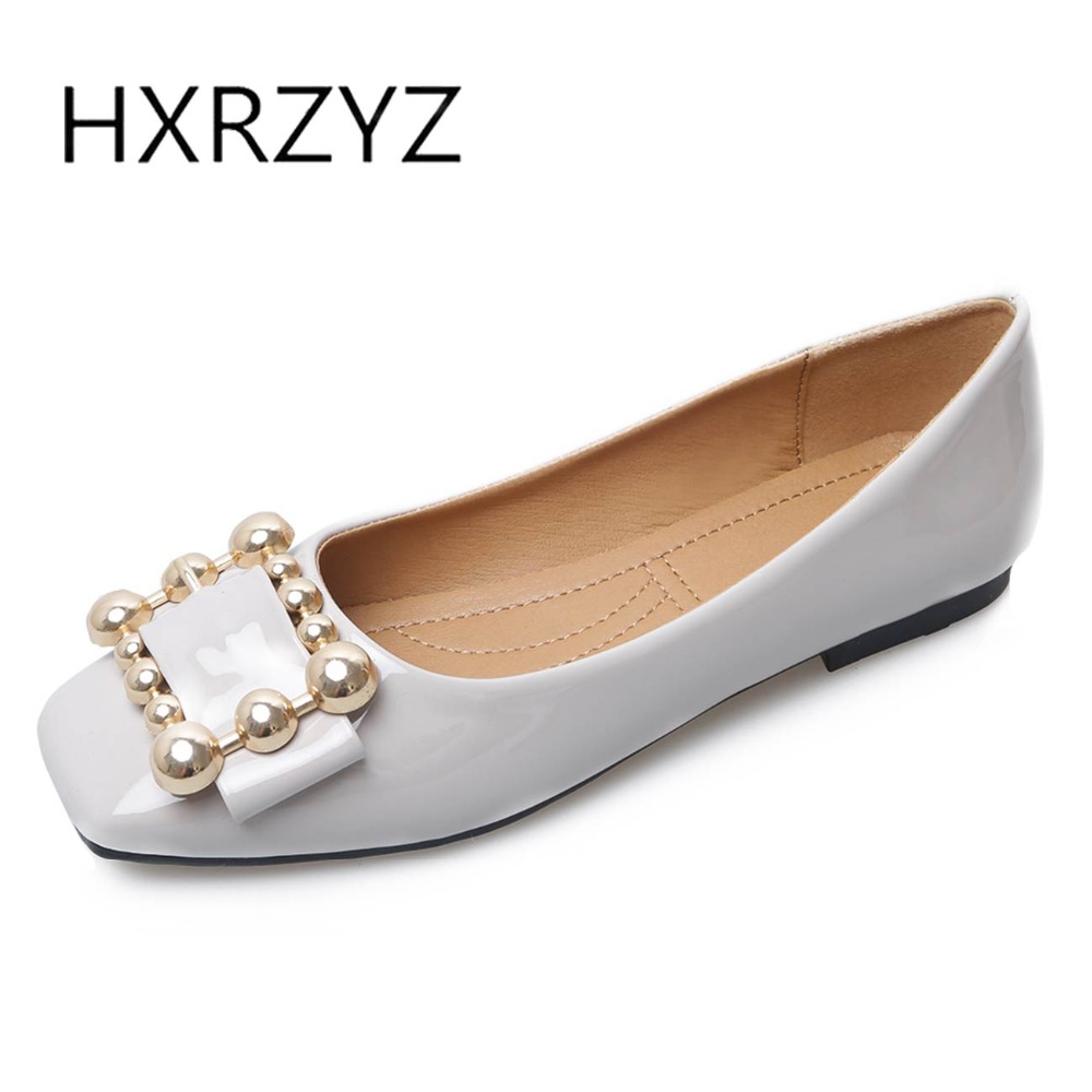 HXRZYZ large size black women flat shoes square toe patent leather loafers spring/autumn new fashion ladies buckle casual shoes new round toe slip on women loafers fashion bow patent leather women flat shoes ladies casual flats big size 34 43 women oxfords