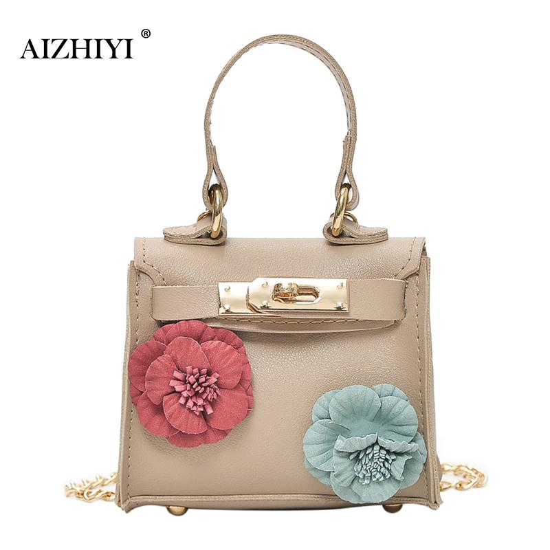 Women Mini Flower PU Chain Shoulder Bags Female Leather Bags Small Ladies Square Cross-body Handbag Hot For Girl Teenager 2017 fashion all match retro split leather women bag top grade small shoulder bags multilayer mini chain women messenger bags