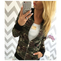 Vogue Nice Women Camouflage Bomber Jacket Fashion Army Green Zipper Coat Spring Autumn Basic Top Jackets Casual Outerwear New