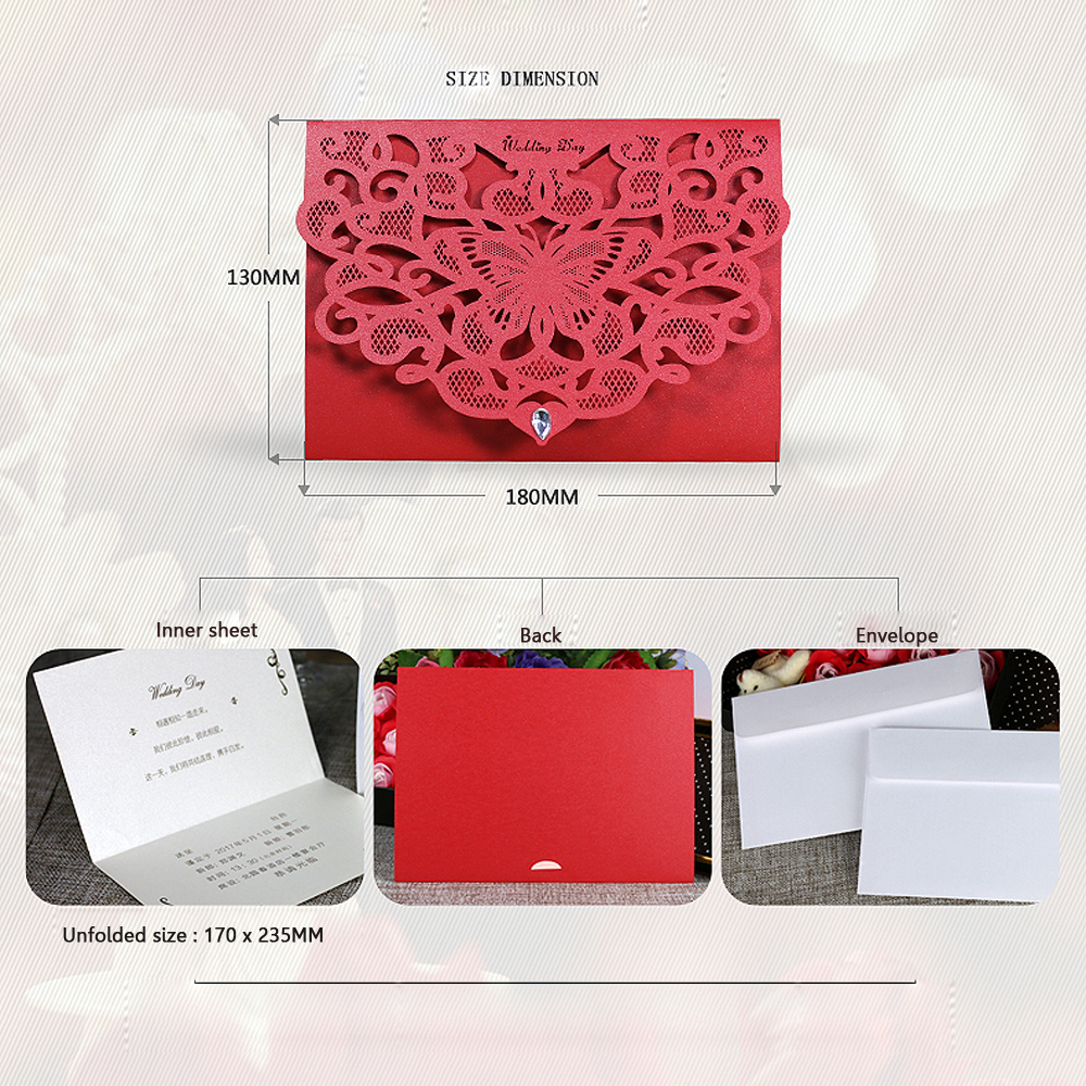10cs Laser Cut Butterfly Pattern Wedding Invitation Card Kit with ...