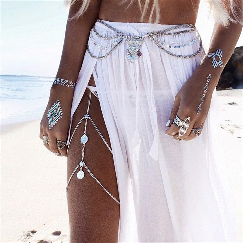 Corrente de coxa, multicamadas, corrente de ouro, pingente de perna, corpo feminino, biquíni sensual, praia, verão, joias de corpo link do corpo da barriga