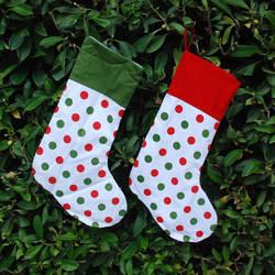 Оптовая продажа в горошек Рождественские носки, ручной работы горошек украшения Рождественские носки s с манжетой DOM-101043