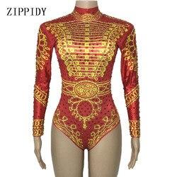 Красное золото Стразы с принтом с длинным рукавом сексуальное трико певица танцевальный костюм для сцены ночной клуб женщин День Рождения ...