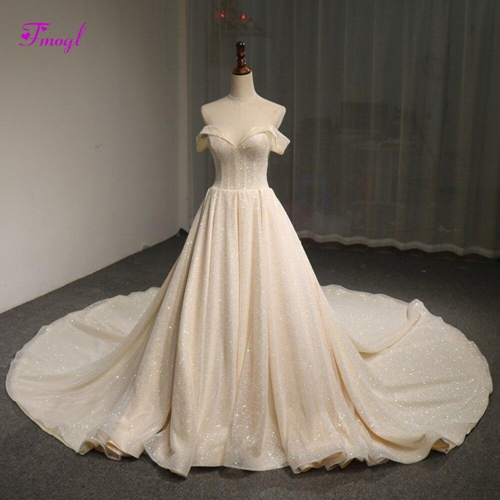 Fmogl Luxury Beaded Sequined Chapel Train A Line Wedding Dress 2019 Sexy Boat Neck Lace Up Princess Bridal Gown Vestido de Noiva