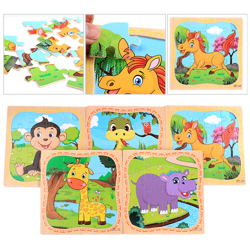 Montessori Toys Educational Wooden Toys for Children Early Learning 3D Cartoon Puzzle Kids Math Match Teaching Aids