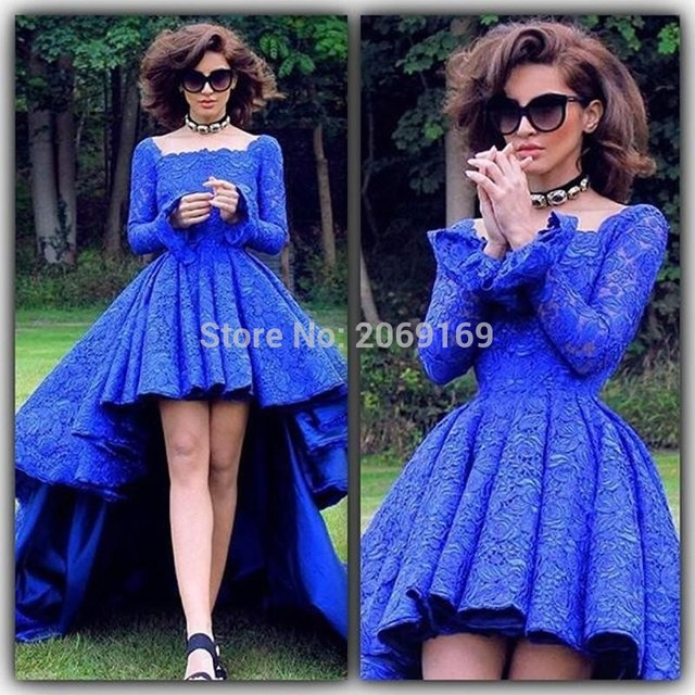 Arabic Royal Blue Lace High Low Prom Dresses Formal Backless Long Sleeve  Evening Dresses Square Party Gowns Robe de soiree dbaaabd2bbd0