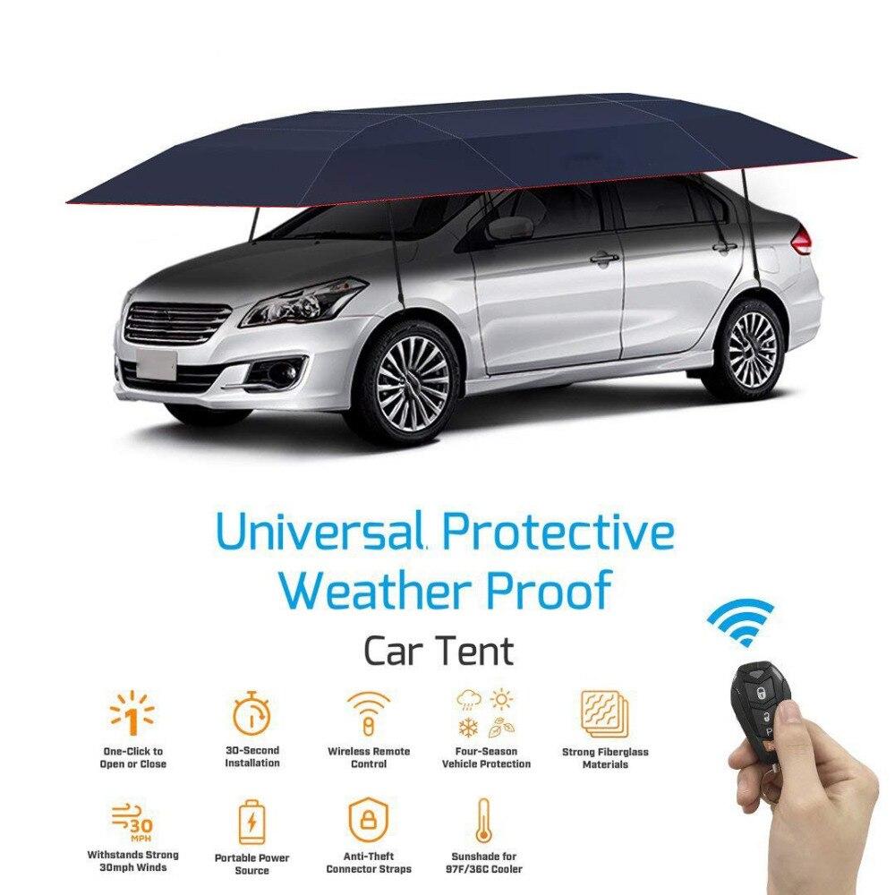 KEMiMOTO Portable Entièrement Automatique Couverture De Voiture Avec Télécommande De Voiture pare-Soleil Parapluie En Plein Air Couverture De Toit UV Protection Kits