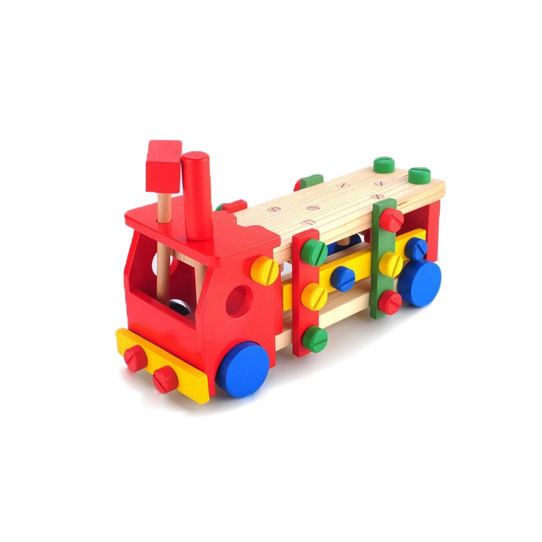 ФОТО chanycore baby learning educational wooden toys blocks screws nuts assemblage geometric shape car dnmw kids gifts 4215