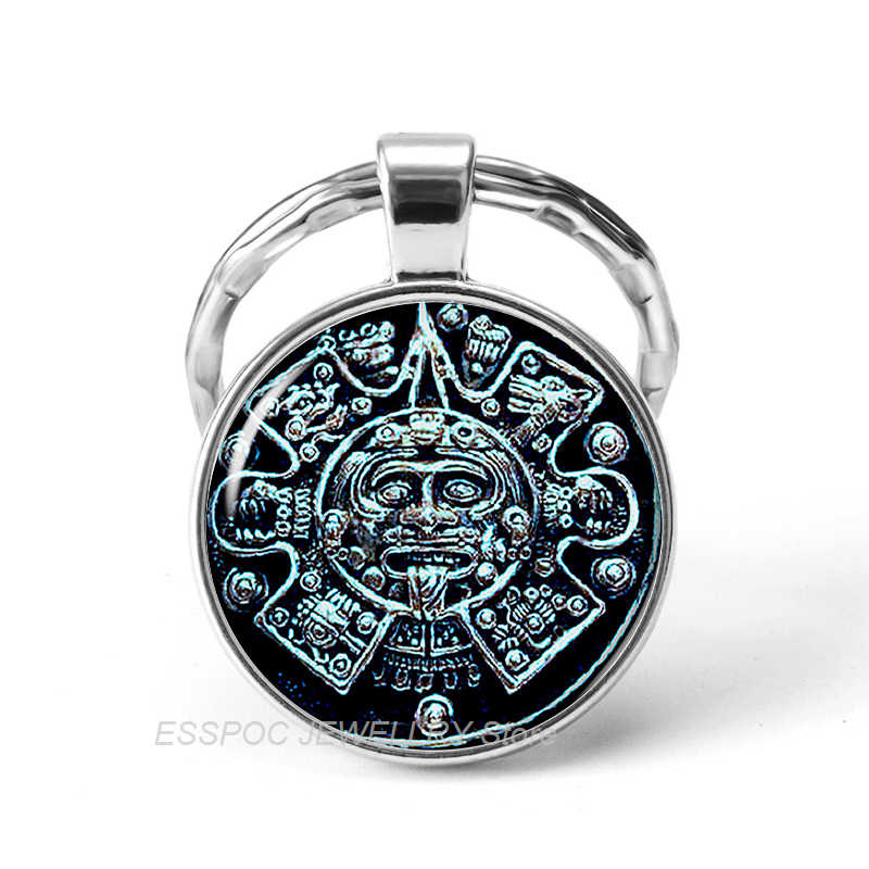 2019 quente calendário maia chaveiro de vidro jóias do vintage chaveiro carro chaveiro mexicano asteca calendário pingente presentes dropshipping