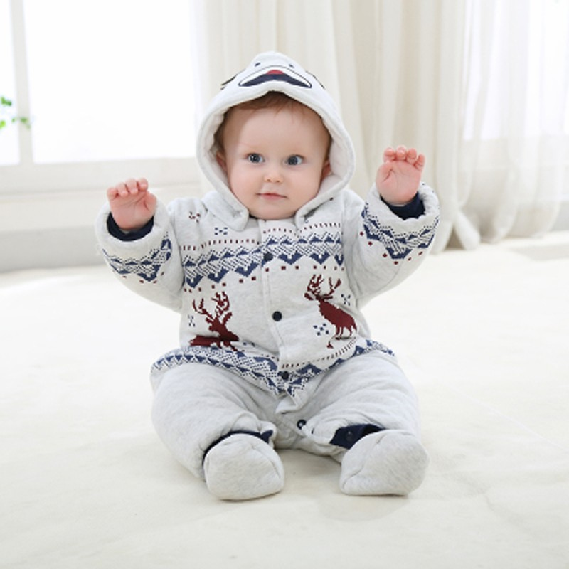 Newborn Christmas Deer Baby Boy Warm Romper