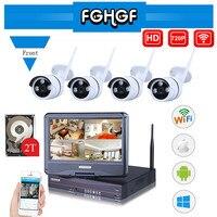 FGHGF 10 1 Inch Plug And Play 4CH Wireless Surveillance System NVR Kit P2P 720P HD