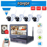 FGHGF 10 1 Inch Plug And Play 4CH Wireless Surveillance System NVR Kit P2P 720P HD