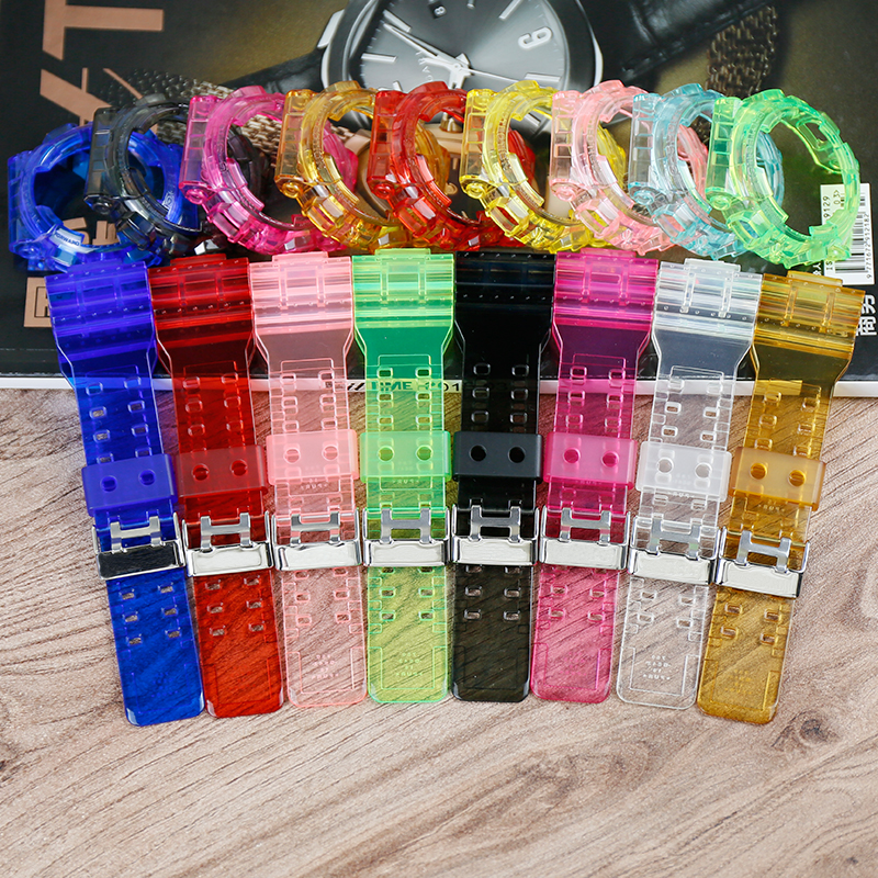 Watch Accessories 16mm Men's And Women's Sports Watch Band For Casio G-SHOCK Resin Transparent Strap GD 100 120 GA 120 110 Case