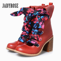 JADY ROSE Vintage Red Women Ankle Boots Genuine Leather Hollow Out Booties Lace Up Botas Militares High Heel Botines Mujer
