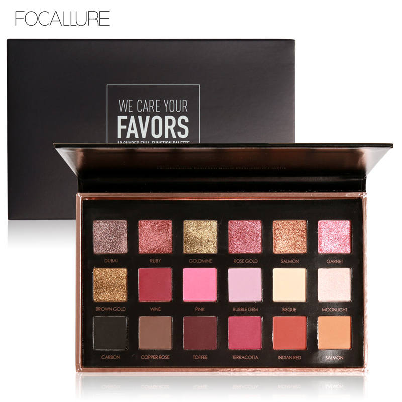 FOCALLURE Glitter Eyeshadow Shimmer Pigment Palette Cosmetics Glitter Eye Shadow Makeup Beauty 18 Colors beauty glazed makeup eyeshadow palette glitter diamond pigment glitter shimmer make up eye shadow sombra paleta de sombra