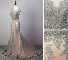Real photo Long Mermaid Evening Dress Beaded Lace gray Appliques Prom Party Gowns Custom