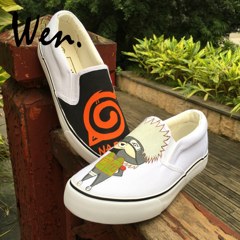 Wen Design Custom Anime Naruto Hatake Kakashi Hand Painted Skateboard Shoes Boys Girls's Unique Gifts Slip On Canvas Sneakers