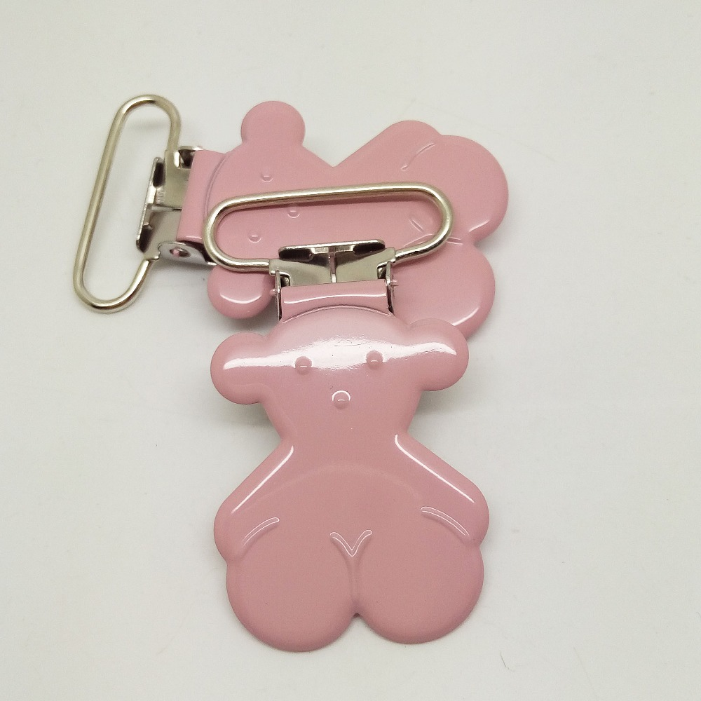 Hot Selling 20pcs Pacifier Holder Clip Painted Baby Pink Color Wholesale Enamel Bear Suspender Clips