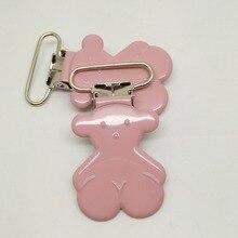Лидер продаж, 20 шт., держатель для пустышки, клипса, окрашенный розовый цвет,, эмалевые шармы в виде медведей, подтяжки, зажимы