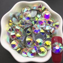 High Quality Crystal AB Glass Rhinestone Nail Art Decorations Non Hot Fix Stones With 16 Cut Facets Applique Material