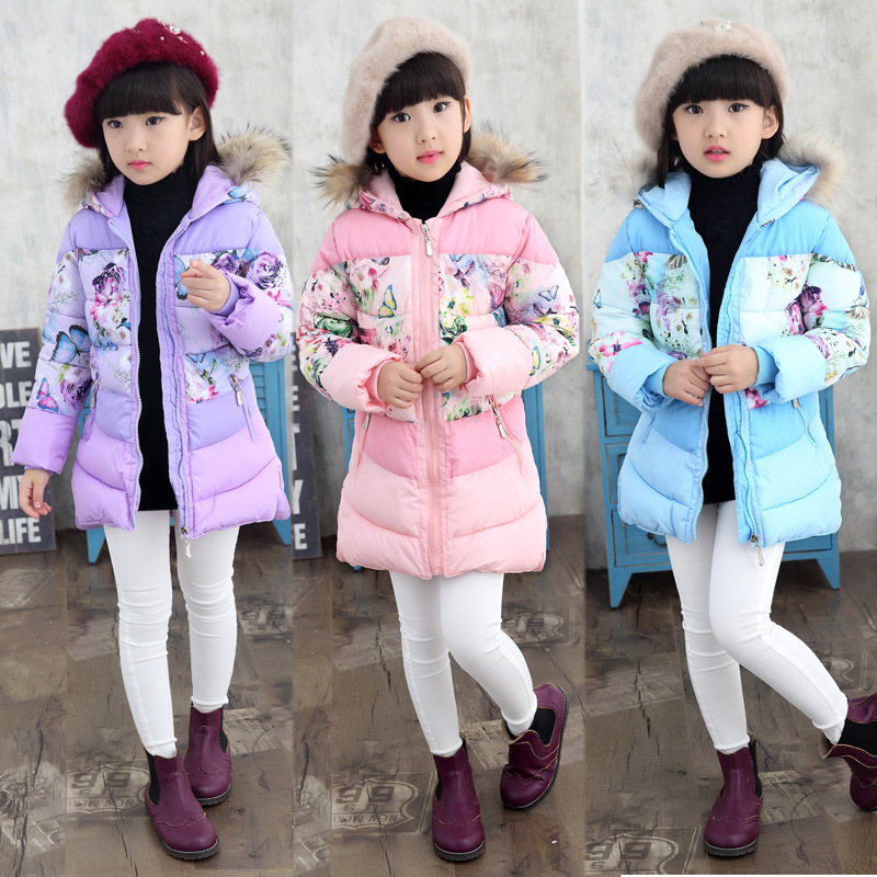 New Children Winter Warm Duck Down Jacket For Girls Long Section Thick Kids Hooded Floral Girl Winter Coats Belt Bow