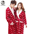 YEJIA FASHION Autumn Winter Women And Men Unisex Long Sleeve Thick Comfort Flannel Bathrobe Robe Homewear Sleepwear Warm Pajamas