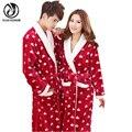 YEJIA MODA Outono Inverno Mulheres E Homens Unissex Manga Comprida Grosso Conforto Flanela Roupão Roupão Homewear Sleepwear Pijama Quente