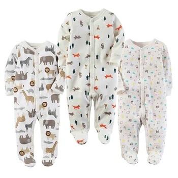 Baby Boy Girl Footies Pajamas Original Cotton Spring Sleepwear 1piece Pja Mother Animal Christmas Coverall baby'sets