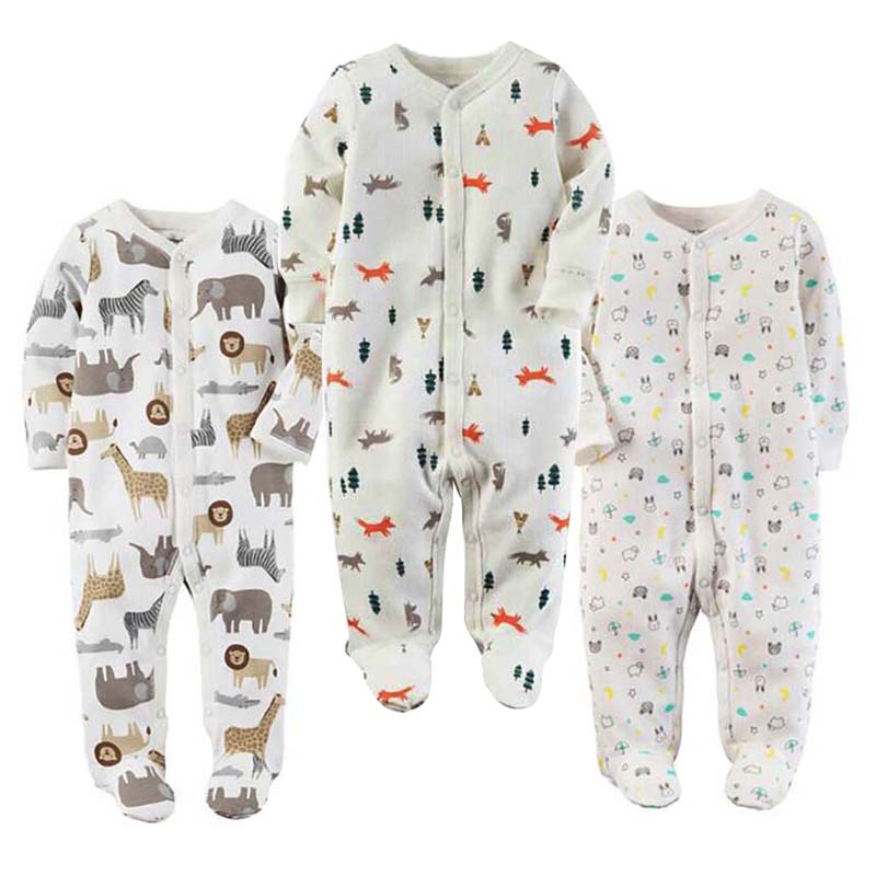 Baby Boy Girl Footies Pajamas Original Cotton Spring Sleepwear 1piece Pja Mother Nest Animal Christmas Coverall Baby'sets