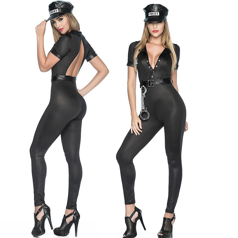 8d125ff63e41 S L Women Sexy Clubwear Jumpsuit Fancy Dirty Police Cops Costume Open Back  Hot Black With Hat Female Fetish Catsuit For Ladies-in Sexy Costumes from  Novelty ...