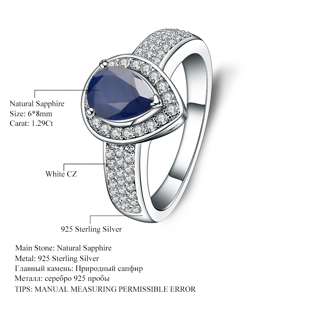 9ba3eacab Gem's Ballet 1.29Ct Natural Blue Sapphire Water Drop Gemstone Ring Real 925  Sterling Silver Vintage Ring For WomenFine Jewelry