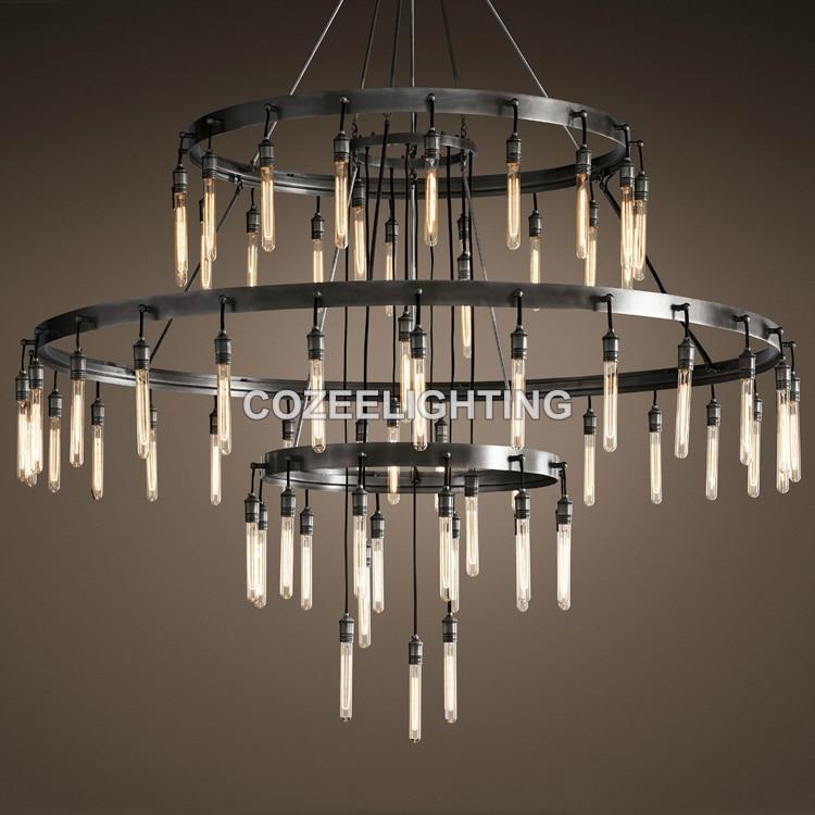 Novi veliki hotelski lestenec za osvetlitev LED Edison žarnica - Notranja razsvetljava - Fotografija 3