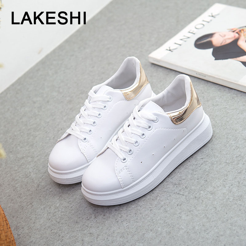 LAKESHI Wild Fashion Women Canvas Shoes 2018 New Casual Shoes White Thick-soled Female Shoes Summer Flat Shoes Increase Shoes creepers women shoes black white striped shoes female casual flat platform shoes round toe thick soled ladies shoes