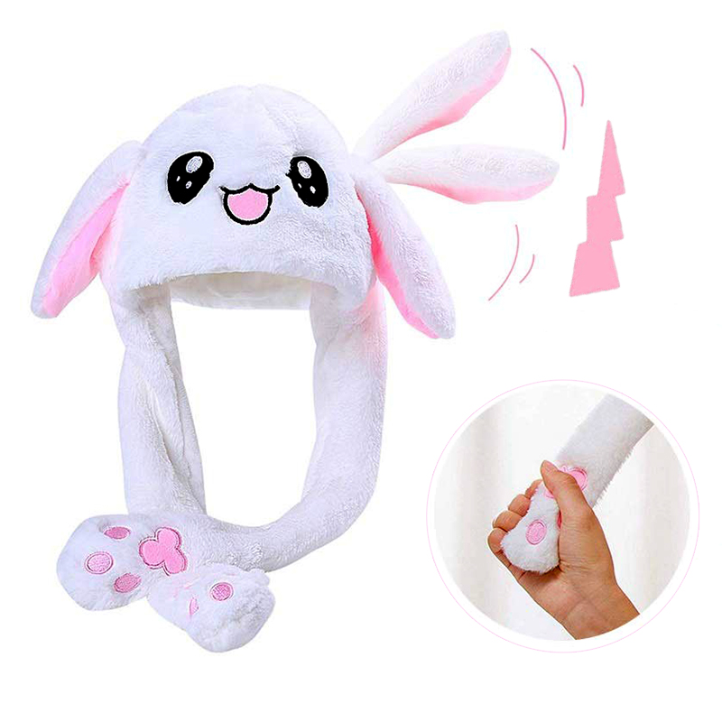 Girls Animals Ear Moving Jumping Hats Children Women Warm Plush Rabbit Winter Caps Kids Cute Bunny Fuzzy Pinch Airbag Funny Hats(China)