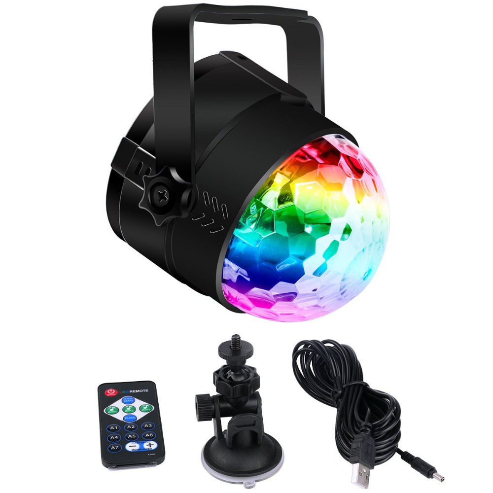 Portable USB Stage Light, Music Sound Activated Strobe Light Disco Ball DJ Party Light with RGB 7 colors modes+Romote control led par stage light dj disco with music activated auto run and dmx512 control mode different colors combinations of rgb rotating