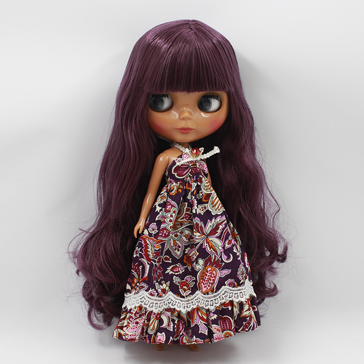 New List Nude Black Blyth Doll DIY Makeup Purple Long Hair With Bangs Princess Dolls For Girls Gifts nude princess blyth doll bjd 1 6 big eyes b female long brown hair with bangs pink cheek and lip diy bjd dolls for sale